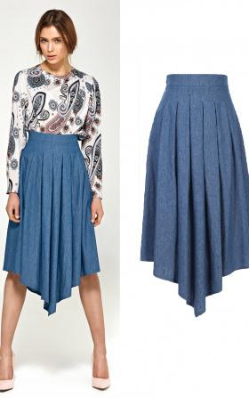 Asymetryczna spódnica z zakładkami - jeans