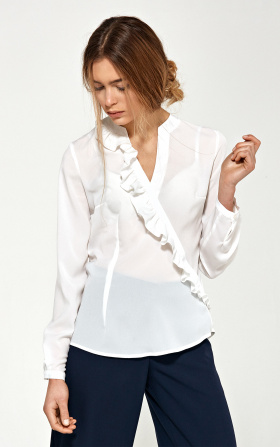 Blouse with asymmetrical frills - ecru