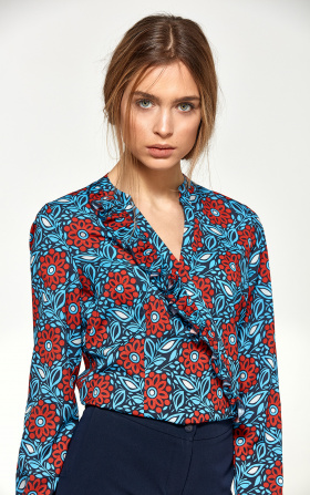 Blouse with asymmetrical frills - flowers