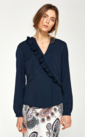 Blouse with asymmetrical frills - navy blue