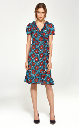 Summer dress with flounces - flowers