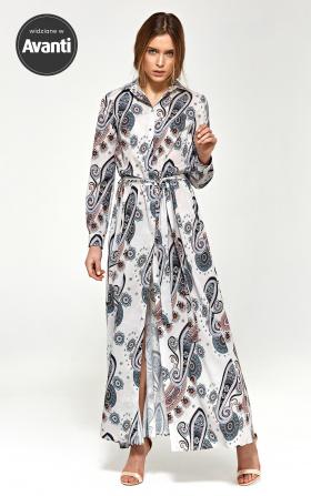 Wzorzysta sukienka maxi z długim rękawem