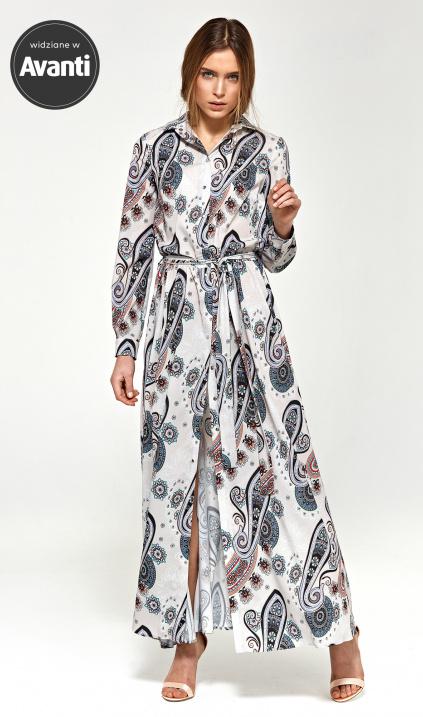 f7a3a5dd Sukienka maxi z długim rękawem - wzór - Sklep www.nife.pl - soft office