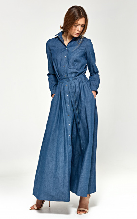 Jeansowa sukienka maxi z długim rękawem