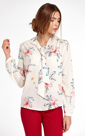Blouse with ribbon and long sleeve - flowers/ecru