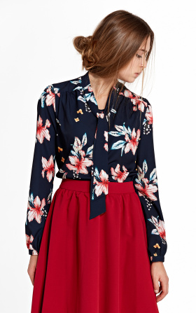 Blouse with ribbon and long sleeve - flowers/navy blue