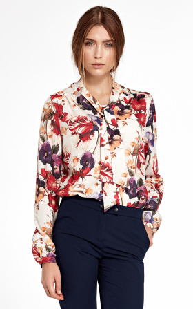 Blouse with ribbon and long sleeve - flowers