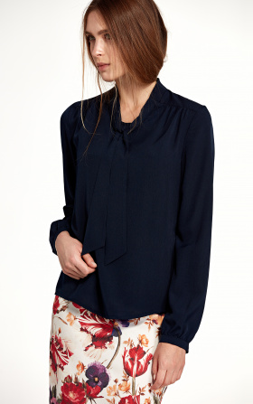 Blouse with ribbon and long sleeve - navy blue