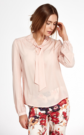 Blouse with ribbon and long sleeve - pink