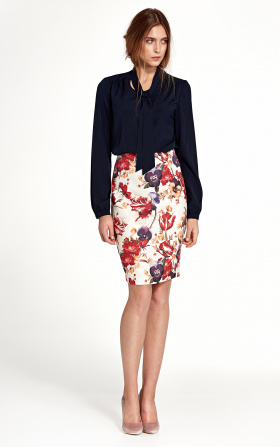 Knee-length pencil dress - flowers