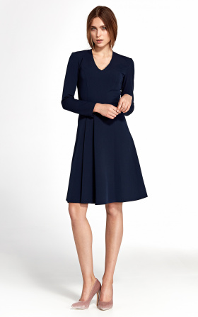 Dress with a vertical furbelow - navy blue