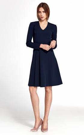 Granatowa sukienka z zakładkami