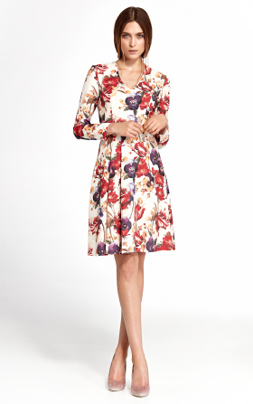 Dress with a vertical furbelow - flowers