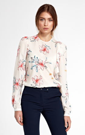 Blouse with a vertical frill on the left - flowers/ecru