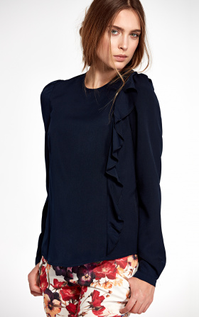 Blouse with a vertical frill on the left - navy blue
