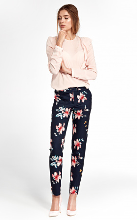 Classic pants with slightly tapered legs - flowers/navy blue