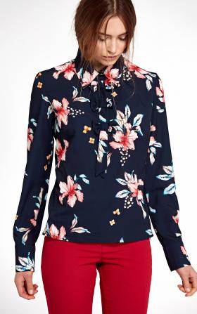 Bluzka z kokardkami - kwiaty/granat