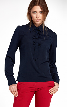 Blouse with bows - navy blue
