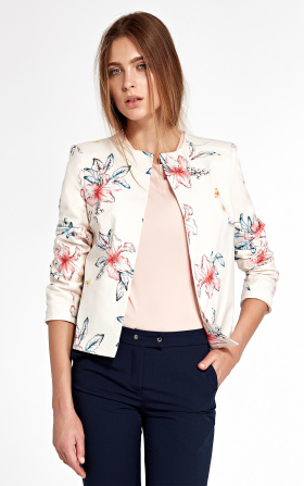 Jacket without collar - flowers/ecru