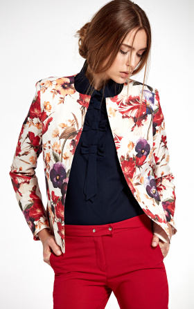 Jacket without collar - flowers