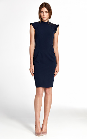 Dress with ruffles on the shoulders - navy blue