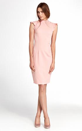 Sukienka z falbankami na ramionach- róż