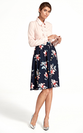 Flared knee-length skirt - flowers/navyblue