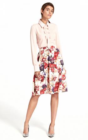 Rozkloszowana spódnica do kolan w modne kwiaty