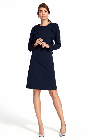 Dress with a vertical frill - navy blue