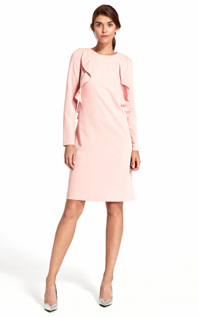Dress with a vertical frill - pink