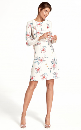 Dress with a vertical frill - flowers/ecru