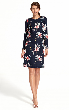 Dress with a vertical frill - flowers/navyblue