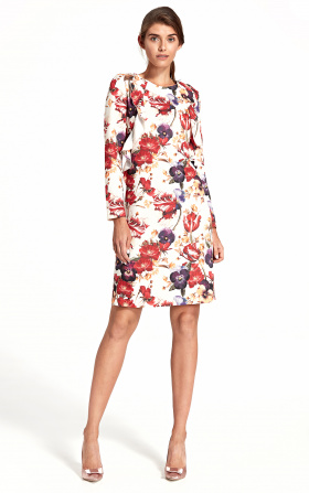 Dress with a vertical frill - flowers