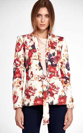 Jacket tied at the waist - flowers