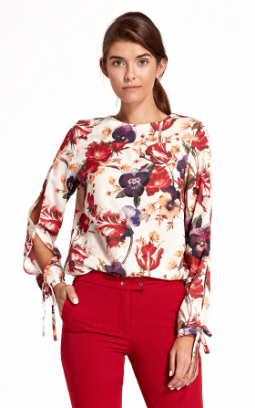 Blouse with cut-outs on the sleeves - flowers