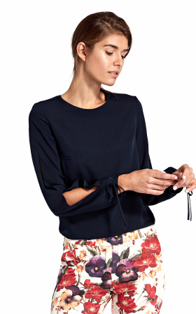 Blouse with cut-outs on the sleeves - navy blue
