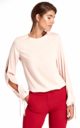 Blouse with cut-outs on the sleeves - pink