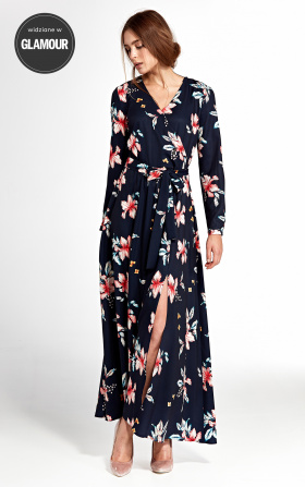 Maxi dress with an envelope neckline - flowers/navy blue
