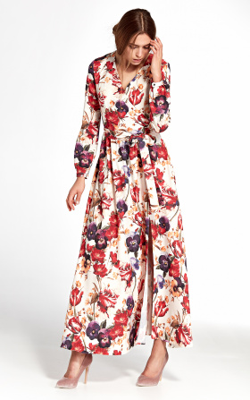 Sukienka maxi z kopertowym dekoltem - kwiaty