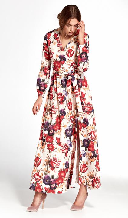 d0226c5ed6 Sukienka maxi z kopertowym dekoltem - kwiaty - Sklep www.nife.pl - soft  office