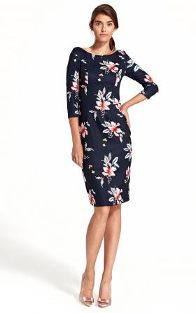 Sukienka z delikatnym wycięciem na plecach - kwiaty/granat