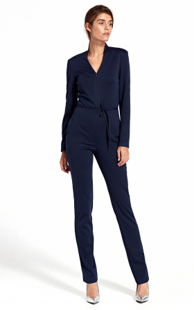 Jumpsuit with zipper at the front - navy blue