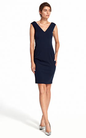 Dress with a deep neckline on the back - navy blue