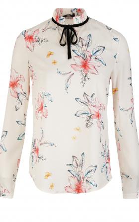 Bluzka ze stójką i tasiemką na szyi - kwiaty/ecru