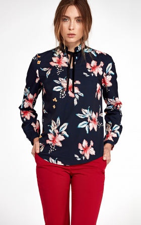 Blouse with stand-up collar and ribbon on neck - flowers/navy blue