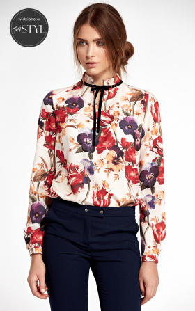 Blouse with stand-up collar and ribbon on neck - flowers