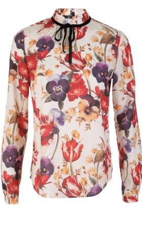Bluzka ze stójką i tasiemką na szyi - kwiaty