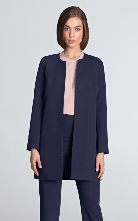 Long jacket without a collar - violet
