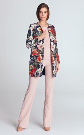 Long jacket without a collar - flowers/navy blue