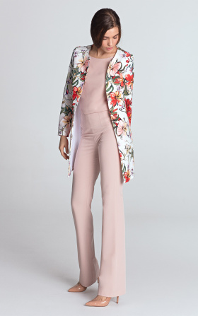 Long jacket without a collar - flowers/ecru